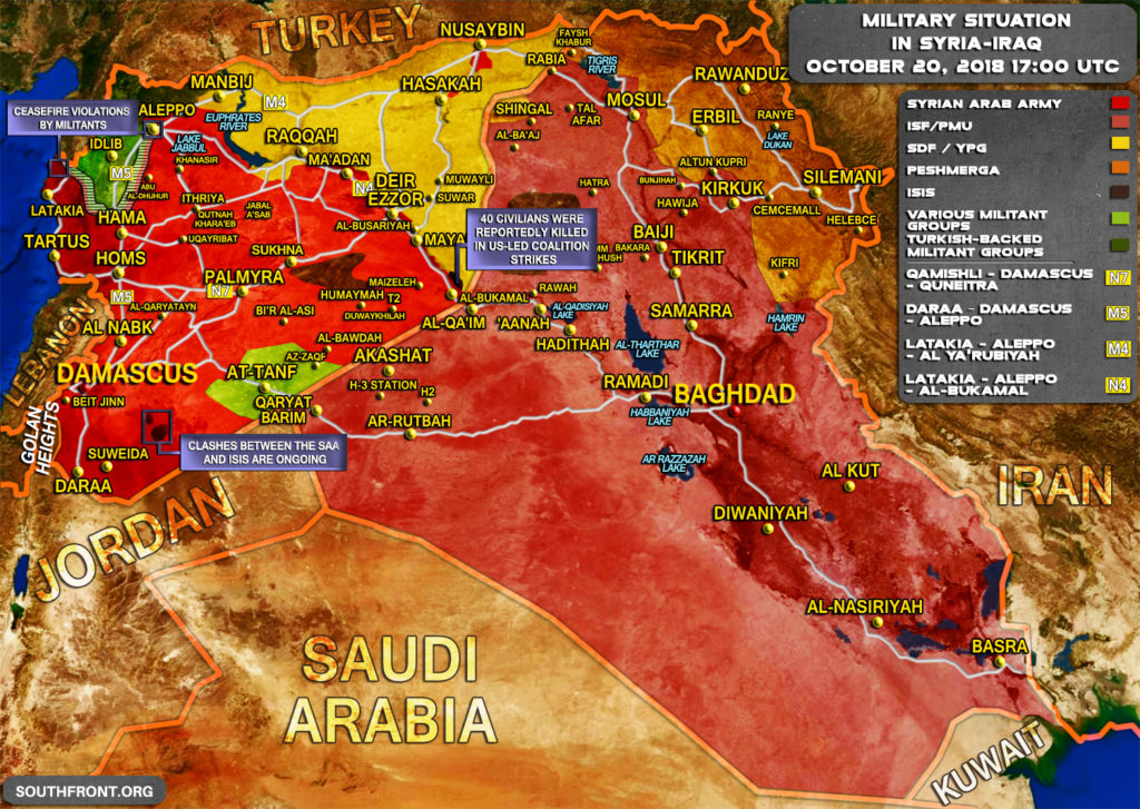 Map Update: Military Situation In Syria And Iraq On October 20, 2018