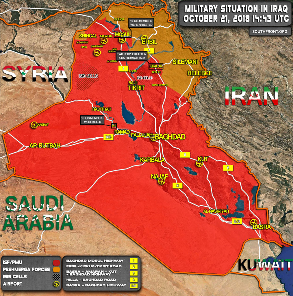 Map Update: Military Situation In Iraq On October 21, 2018