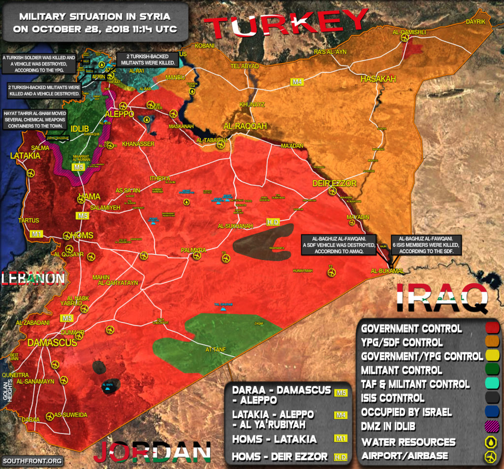 Brief Look At Military Situation In Syria On October 22, 2018 (Map Update)