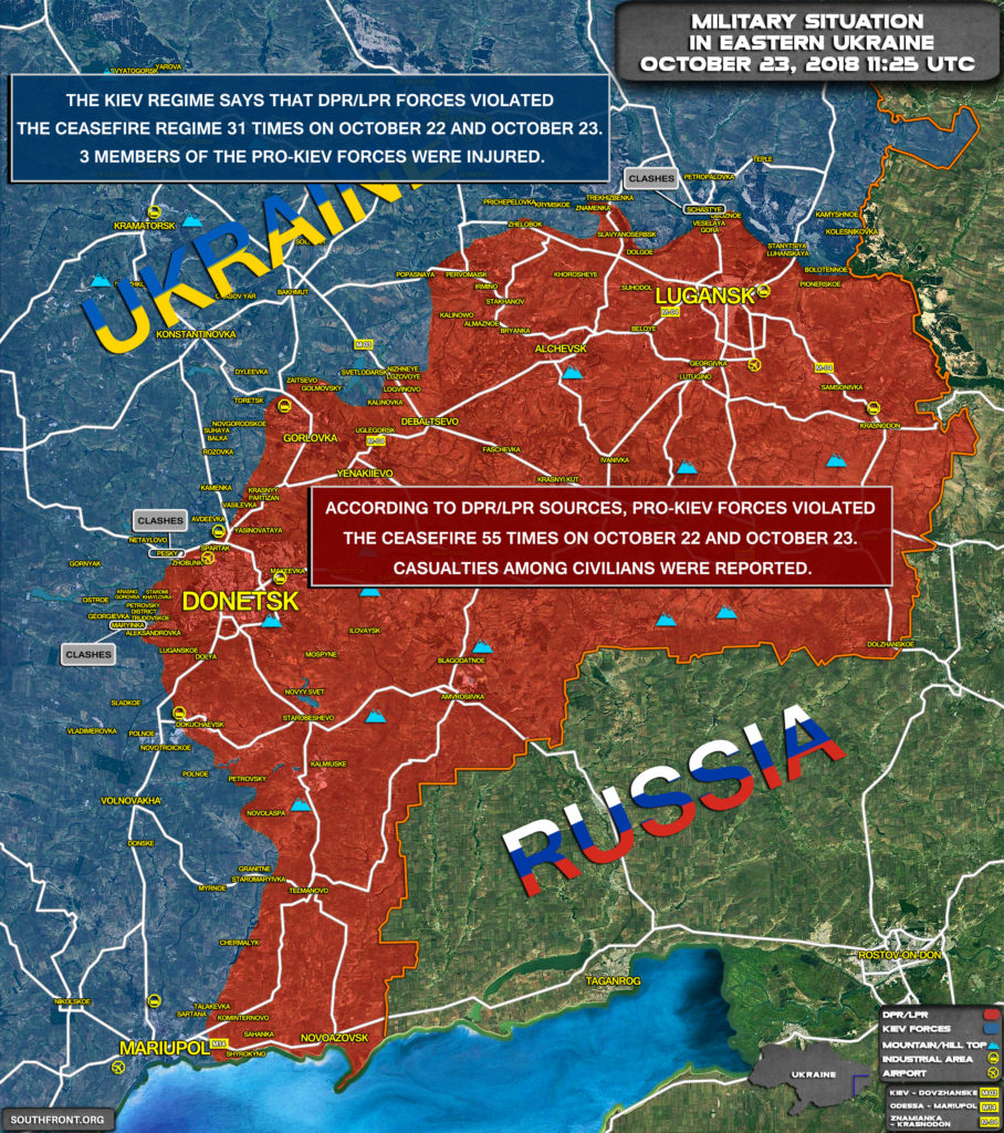 Military Situation In Eastern Ukraine On October 23, 2018 (Map Update)