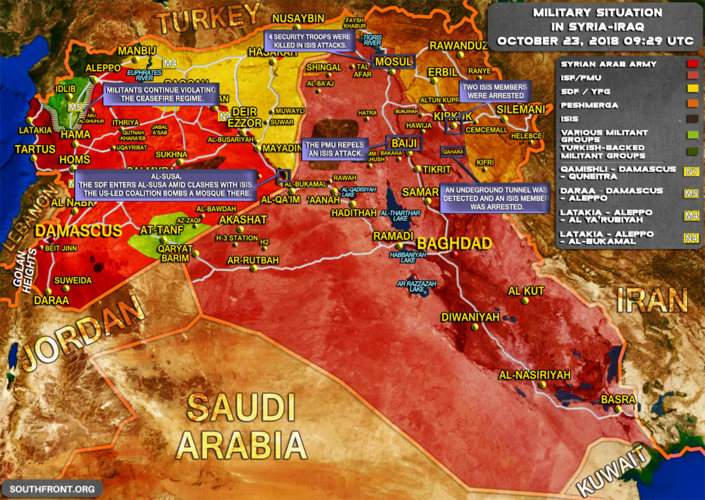 Military Situation In Syria And Iraq On October 23, 2018 (Map Update)