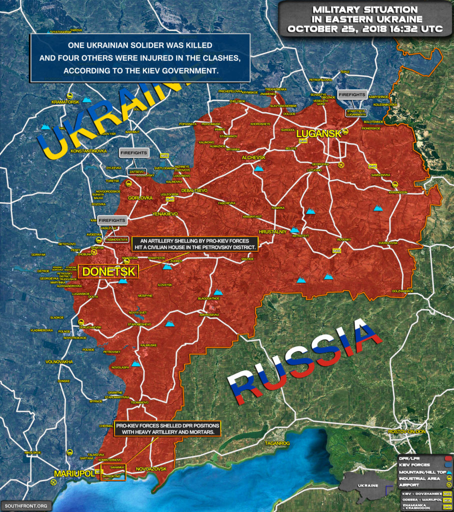 One Ukrainian Soldier Killed, Two Injured In Clashes In Donbass Region (Map)