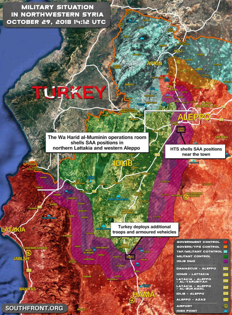Vojenská Situácia V Severozápadnej Sýrii Dňa 29. Októbra Roku 2018 (Aktualizácia Máp)
