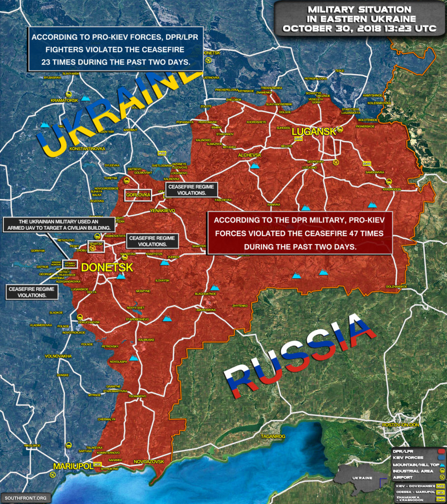 Military Situation In Eastern Ukraine On October 30, 2018 (Map Update)