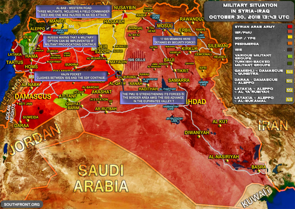 Military Situation In Syria And Iraq On October 30, 2018 (Map Update)