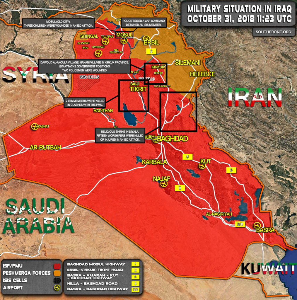 Military Situation In Iraq On October 31, 2018 (Map Update)