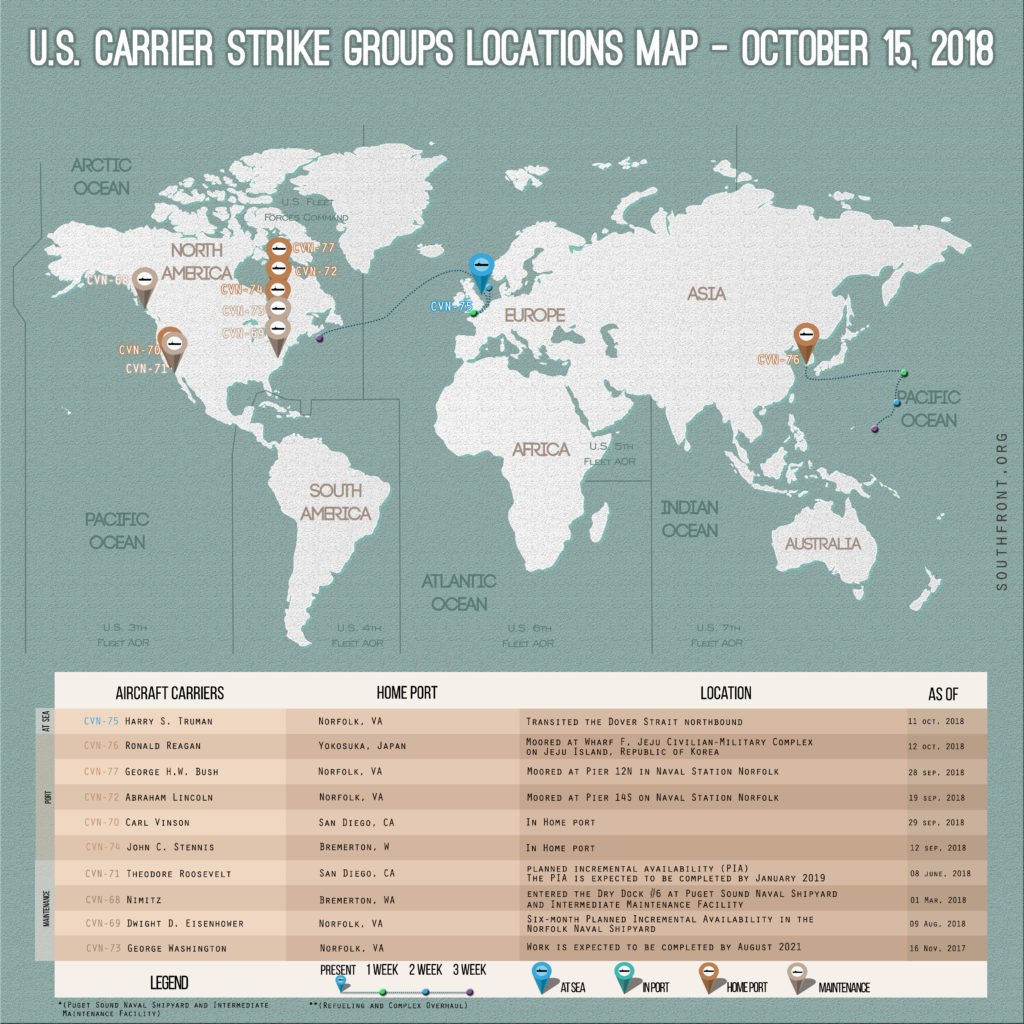 US Carrier Strike Groups Locations Map – October 15, 2018
