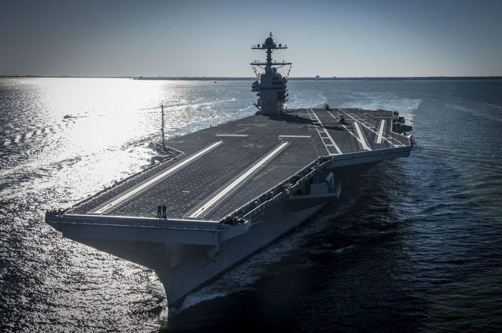 U.S. Super Aircraft Carrier Gerald R. Ford Is Delivered Without Elevators To Lift Bombs