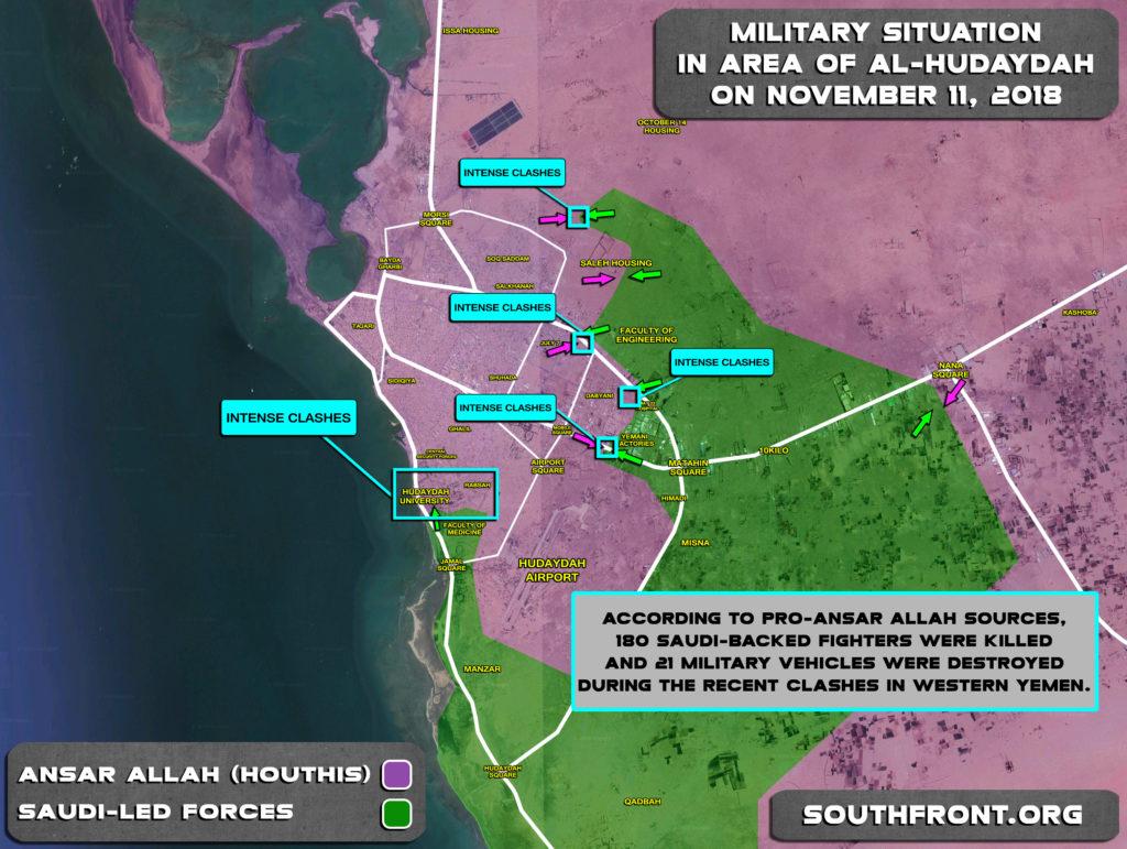 Overview Of Battle For Yemen's Al-Hudaydah On November 11, 2018 (Map)