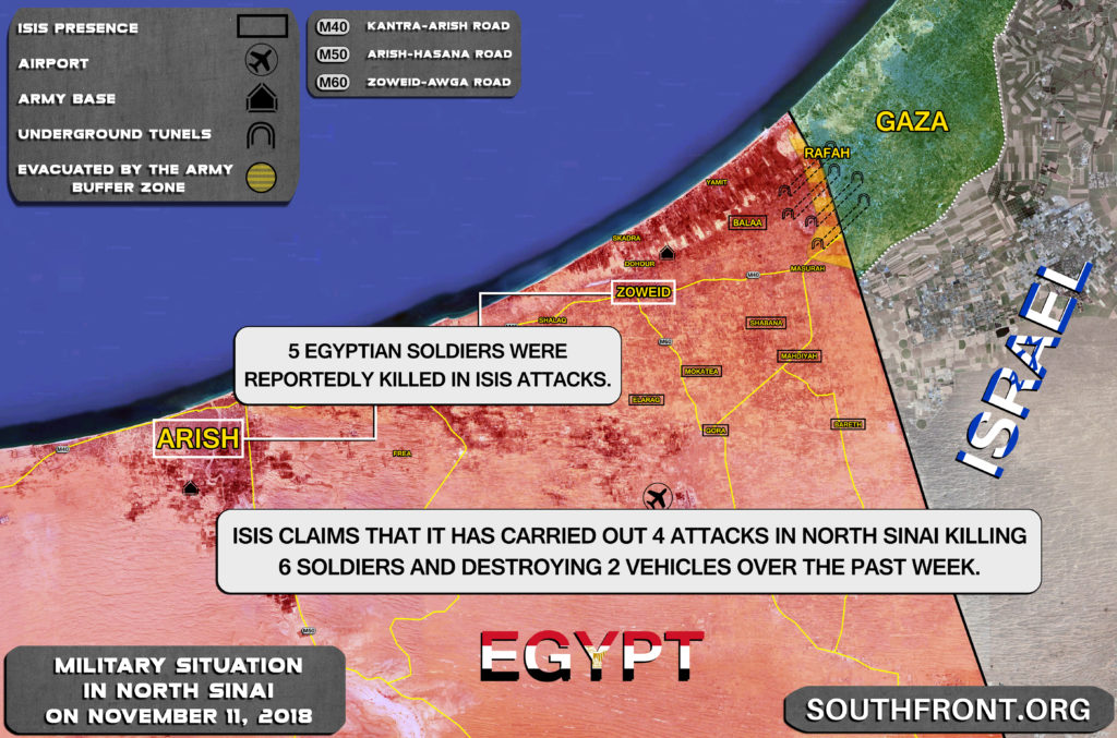 ISIS Claims 6 Egyptian Troops Killed, 2 Vehicles Destroyed In North Sinai Attacks (Map Update)