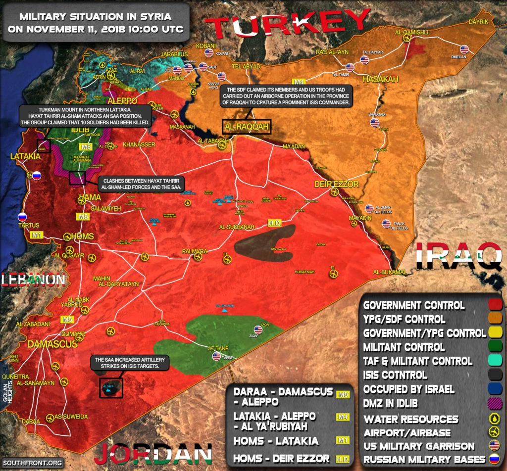 Military Situation In Syria On November 11, 2018 (Map Update)