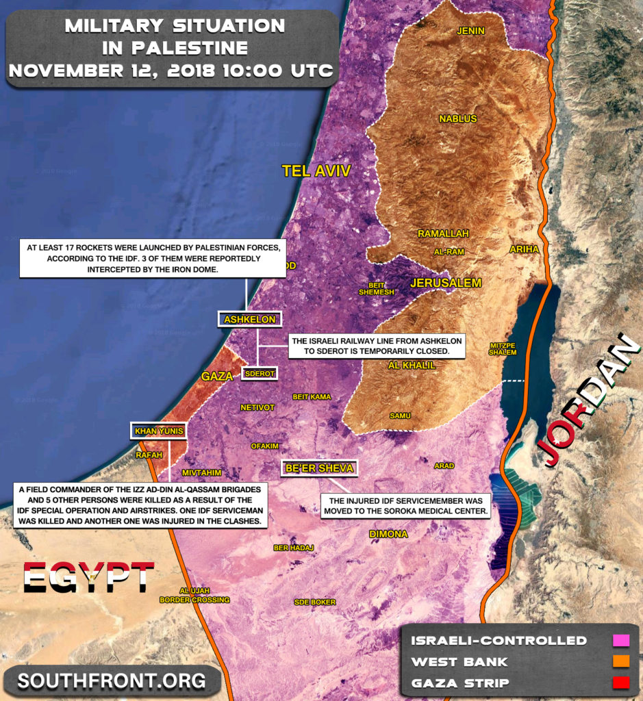 Map Update: Escalation In Gaza Strip On November 11-12, 2018