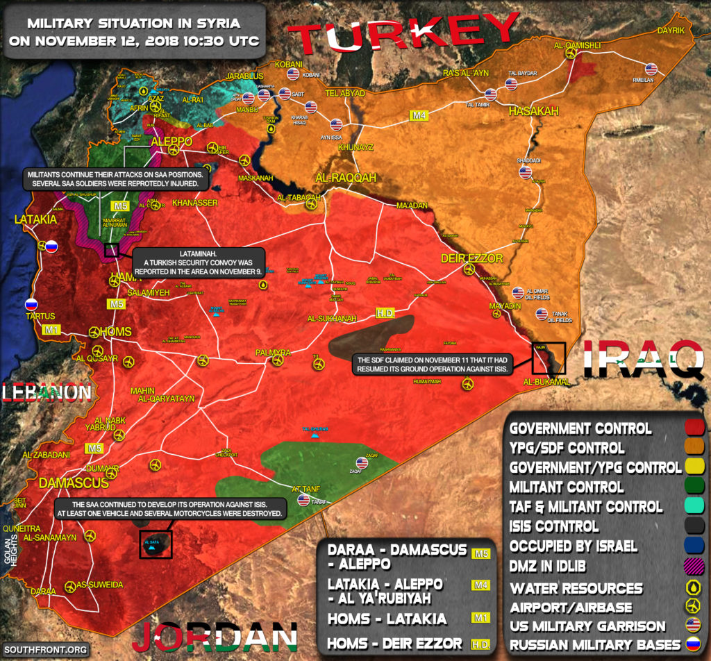 Brief Look At Military Situation In Syria On November 12, 2018 (Map Update)