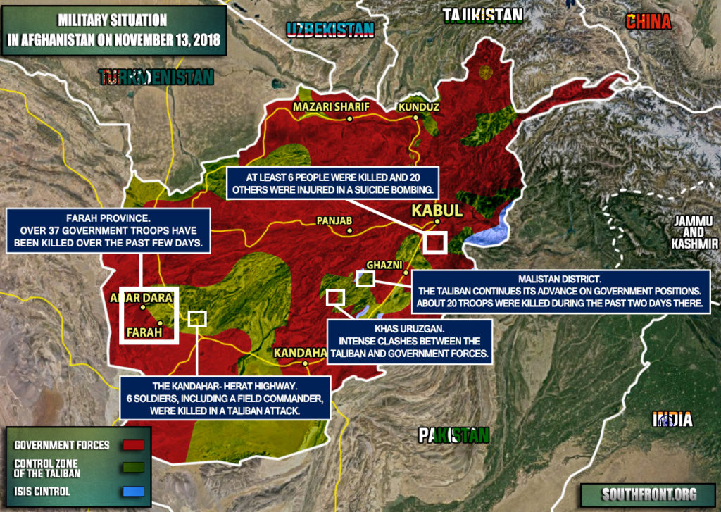 Military Situation In Afghanistan On November 13, 2018 (Map Update)