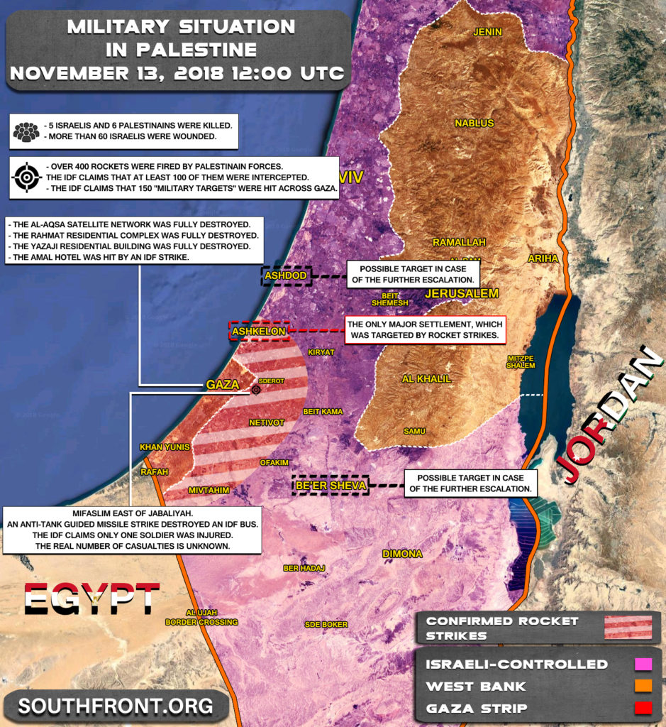 Military Escalation In Gaza Strip On November 12-13, 2018 (Map Update)