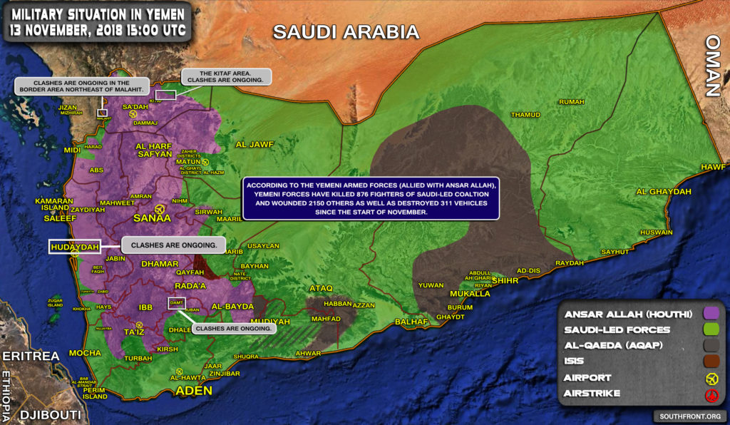 Overview Of Military Situation In Yemen On November 13, 2018 (Map, Videos)