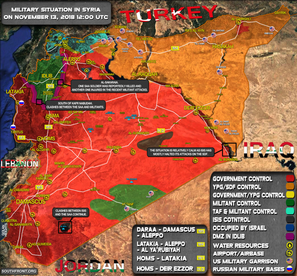Brief Look At Military Situation In Syria On November 13, 2018 (Map Update)