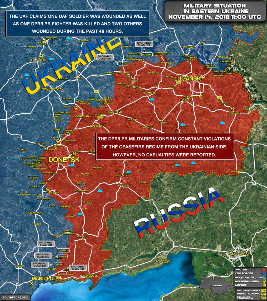 Brief Look At Military Situation In Eastern Ukraine On November 14, 2018 (Map Update)