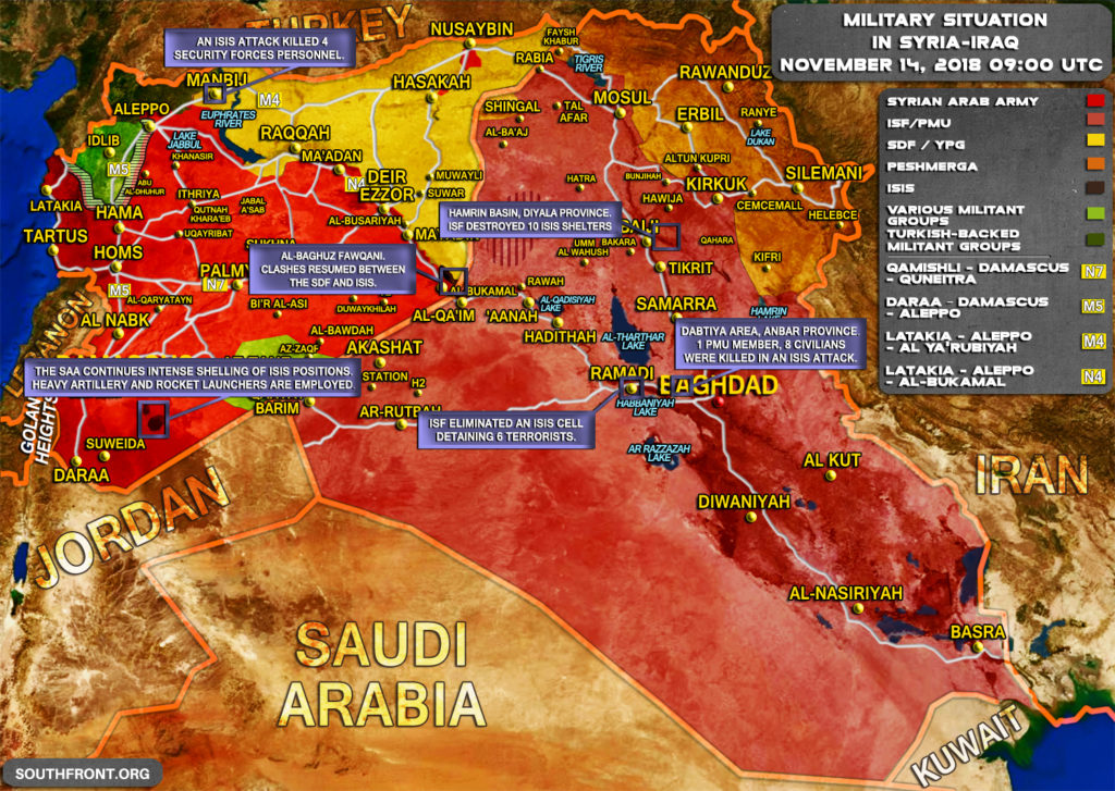 Brief Look At Military Situation In Syria And Iraq On November 12-14, 2018 (Map Update)