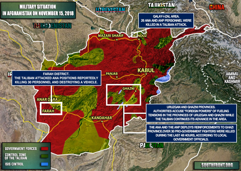 Brief Look At Military Situation In Afghanistan On November 15, 2018 (Map Update)