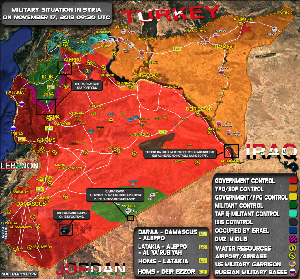 Military Situation In Syria On November 17, 2018 (Map Update)