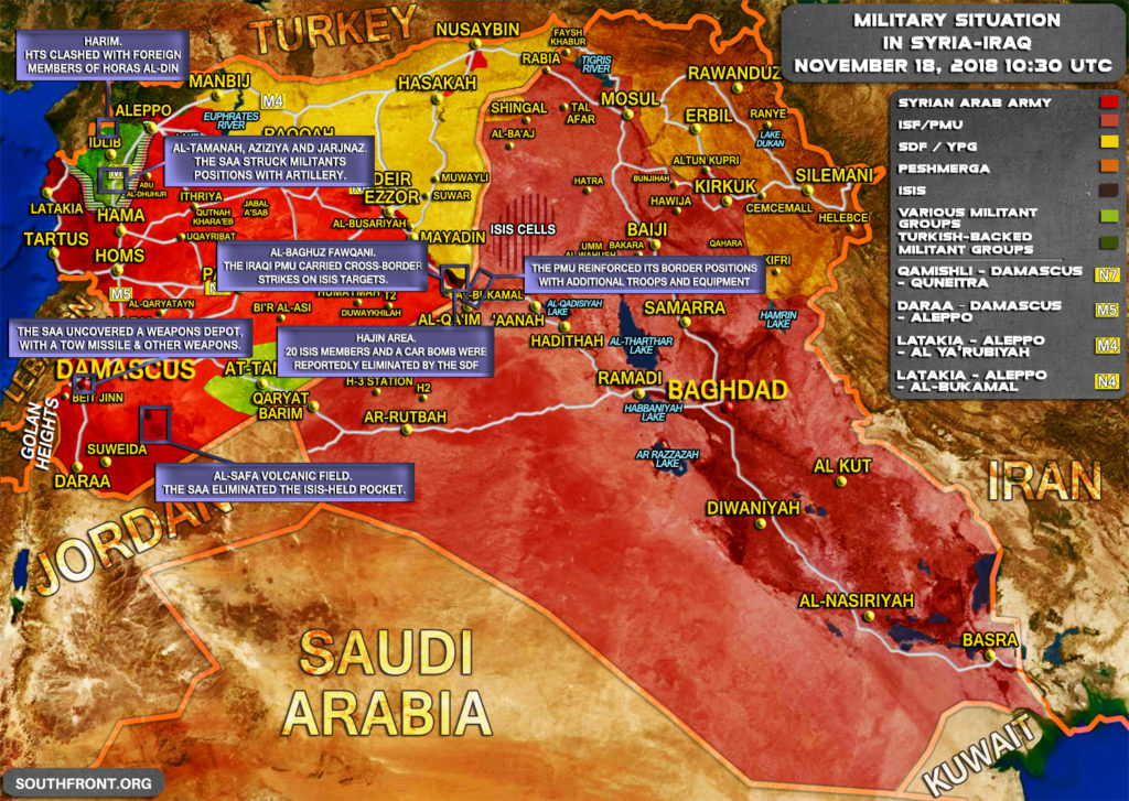 Brief Look At Military Situation In Syria And Iraq On November 18, 2018