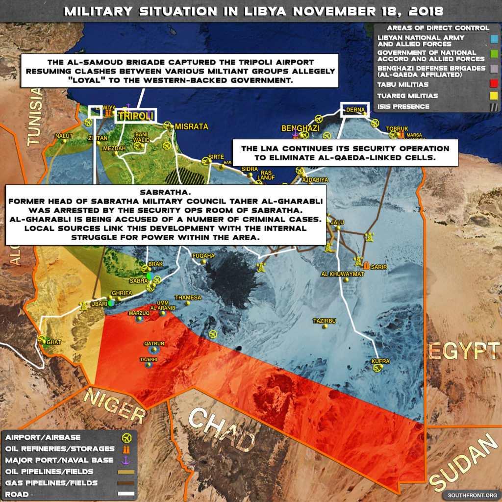 Brief Look At Military Situation In Libya On November 18, 2018 (Map Update)