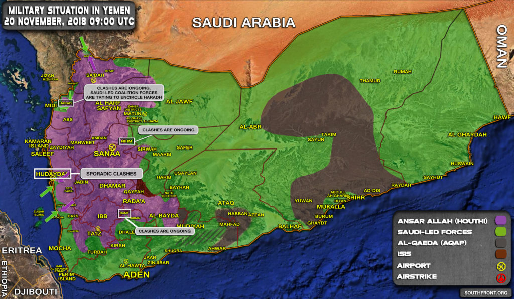 Military Situation In Yemen On November 20, 2018 (Map Update)