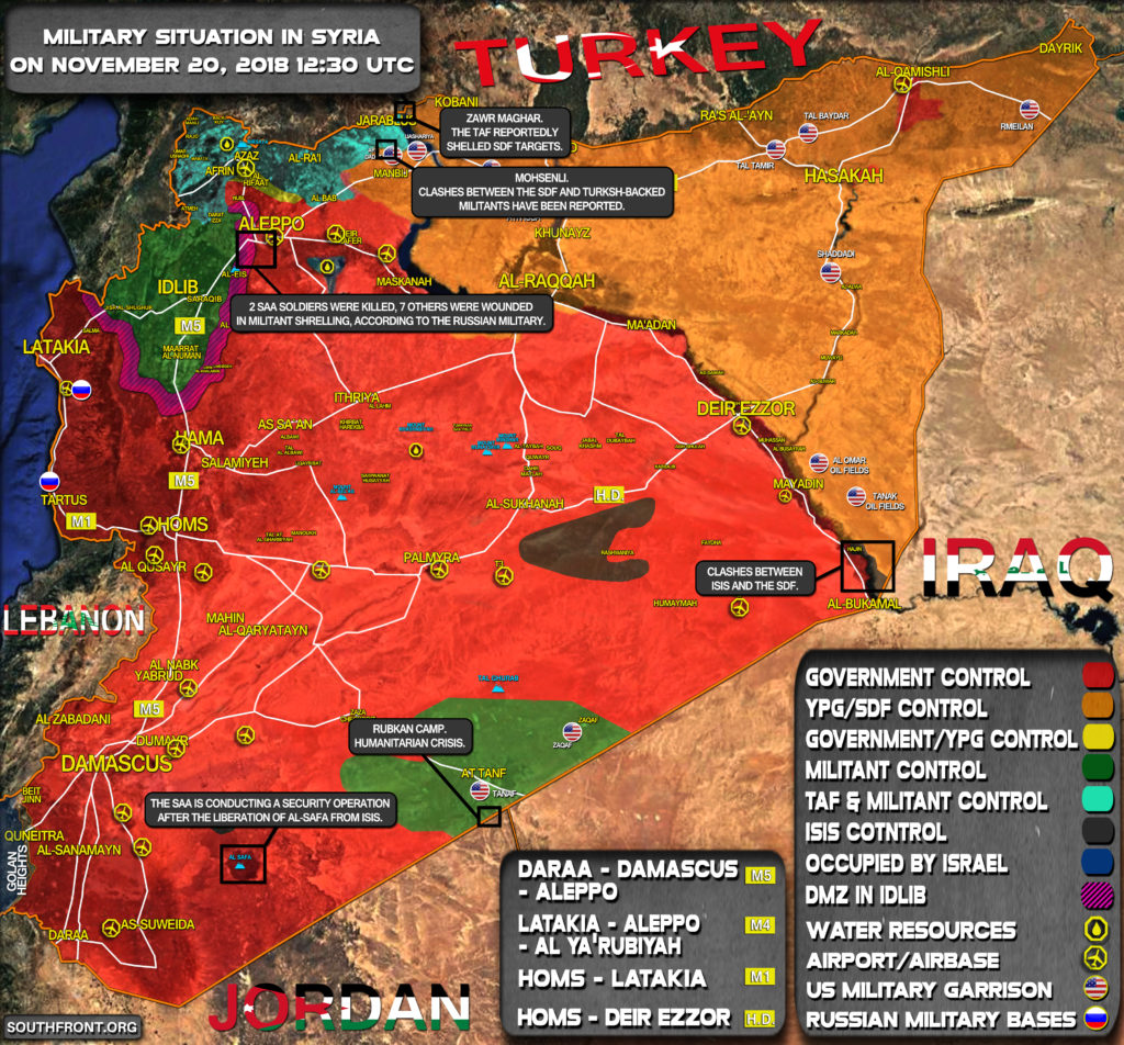 Brief Look At Military Situation In Syria On November 20, 2018 (Map Update)