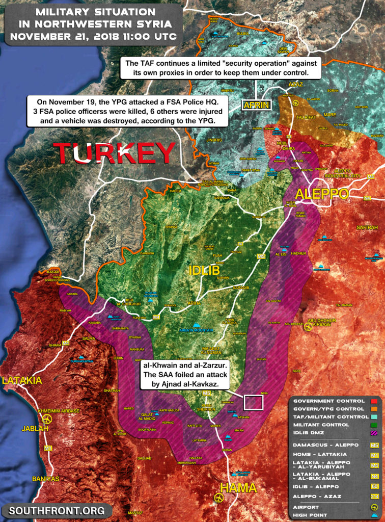 Brief Look At Military Situation In Northwestern Syria On November 21, 2018 (Map Update)