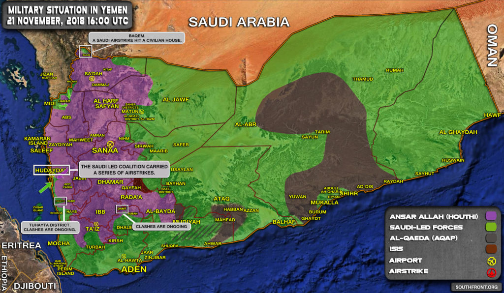 Military Situation In Yemen On November 21, 2018 (Map Update)