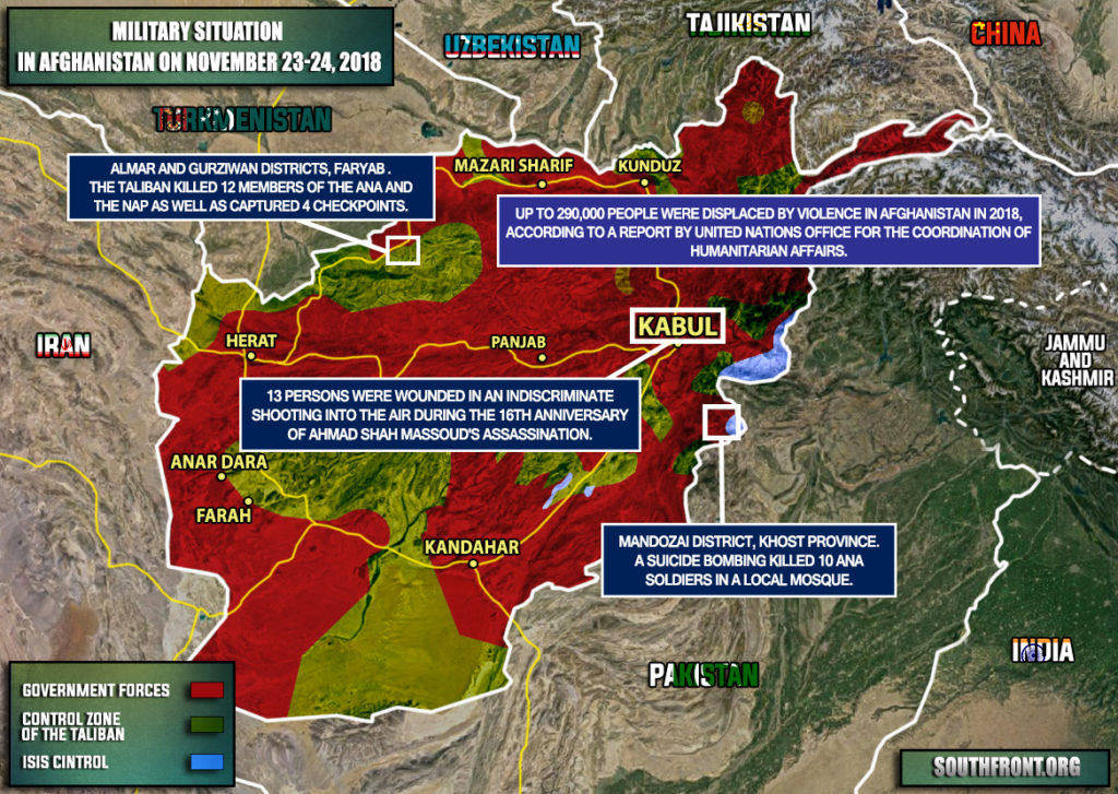 Military Situation In Afghanistan On November 23-24, 2018 (Map Update)
