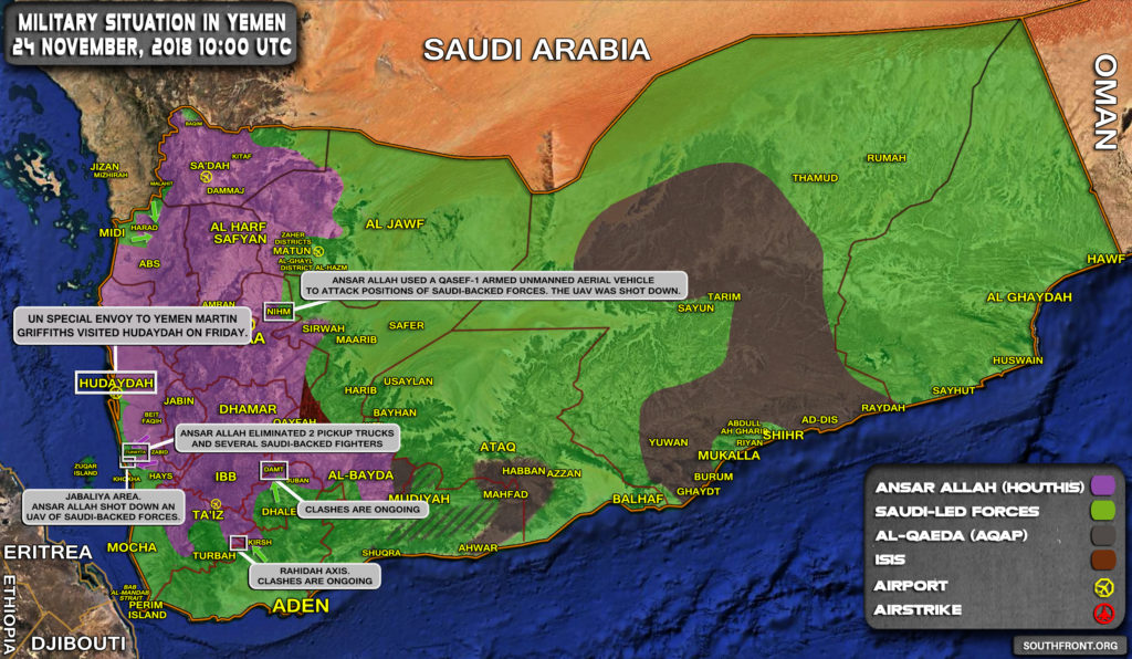 Brief Look At Military Situation In Yemen On November 24, 2018 (Map Update)