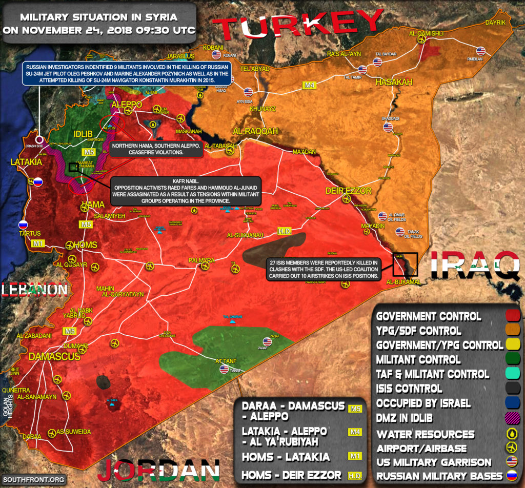Brief Look At Military Situation In Syria On November 24, 2018
