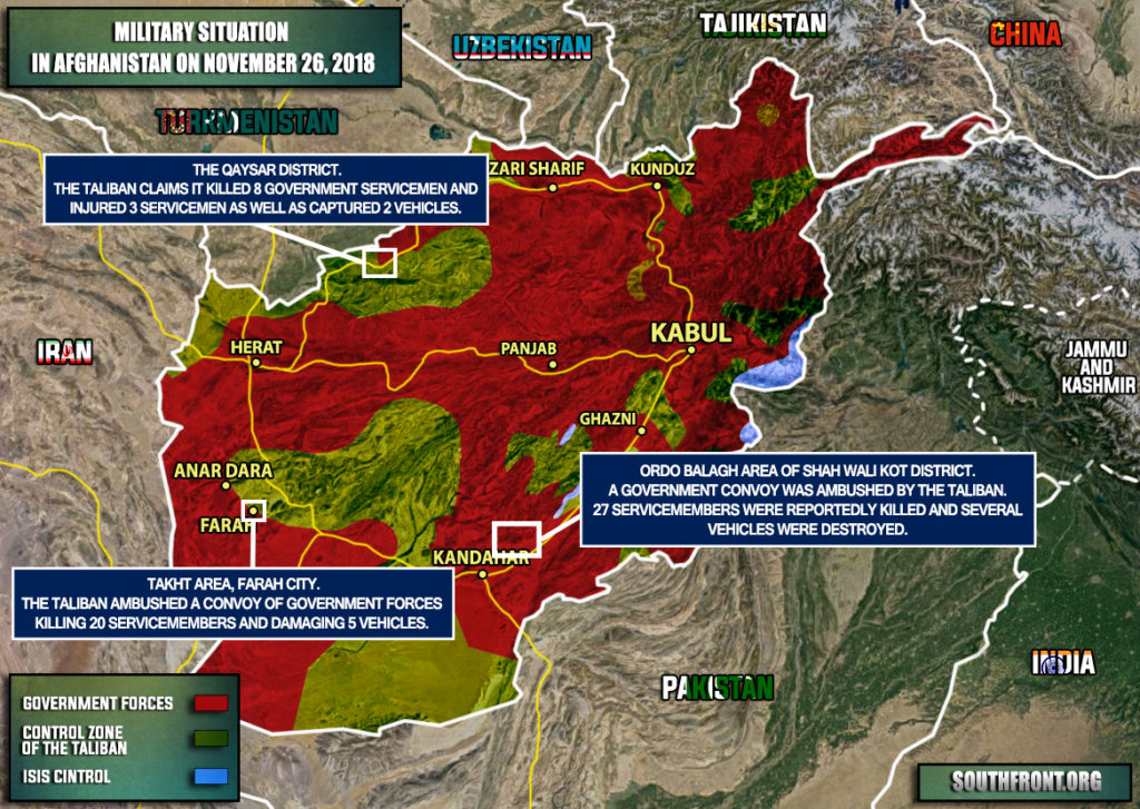 Military Situation In Afghanistan On November 26, 2018 (Map Update)