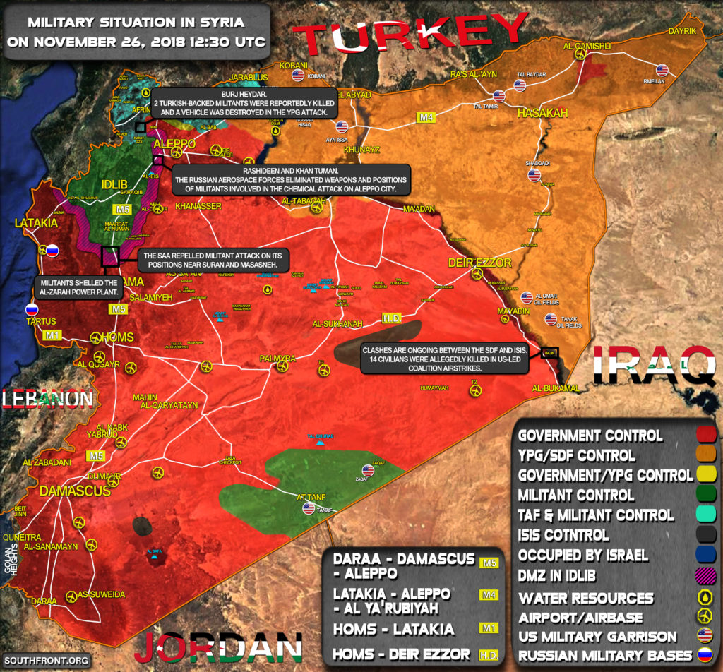 Brief Look At Military Situation In Syria On November 26, 2018 (Map Update)