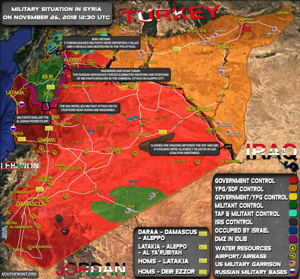 Stručný Pohľad Na Vojenskú Situáciu V Sýrii 26. Novembra Roku 2018 (Aktualizácia Máp)