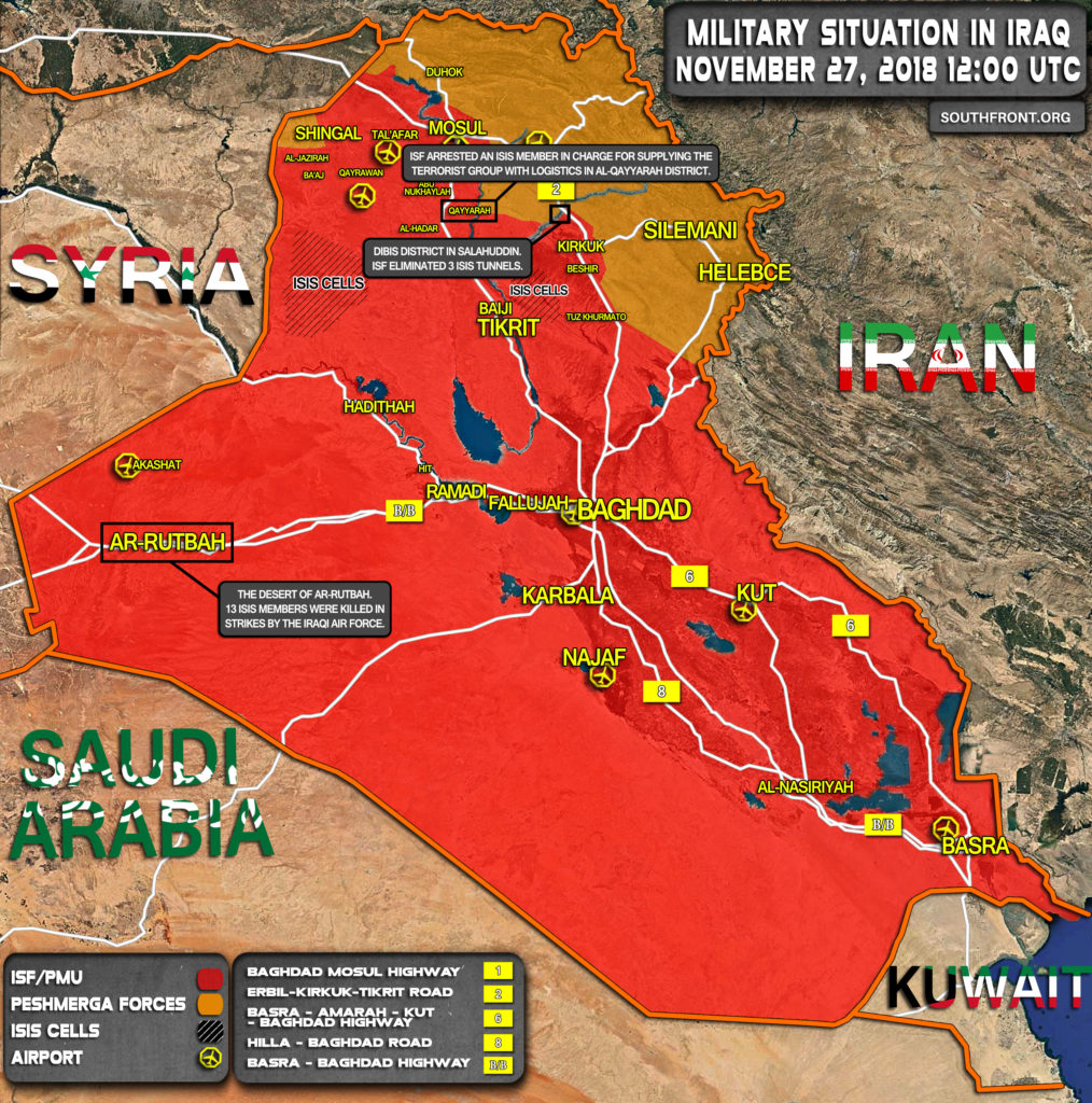 Brief Look At Military Situation In Iraq On November 27, 2018 (Map Update)