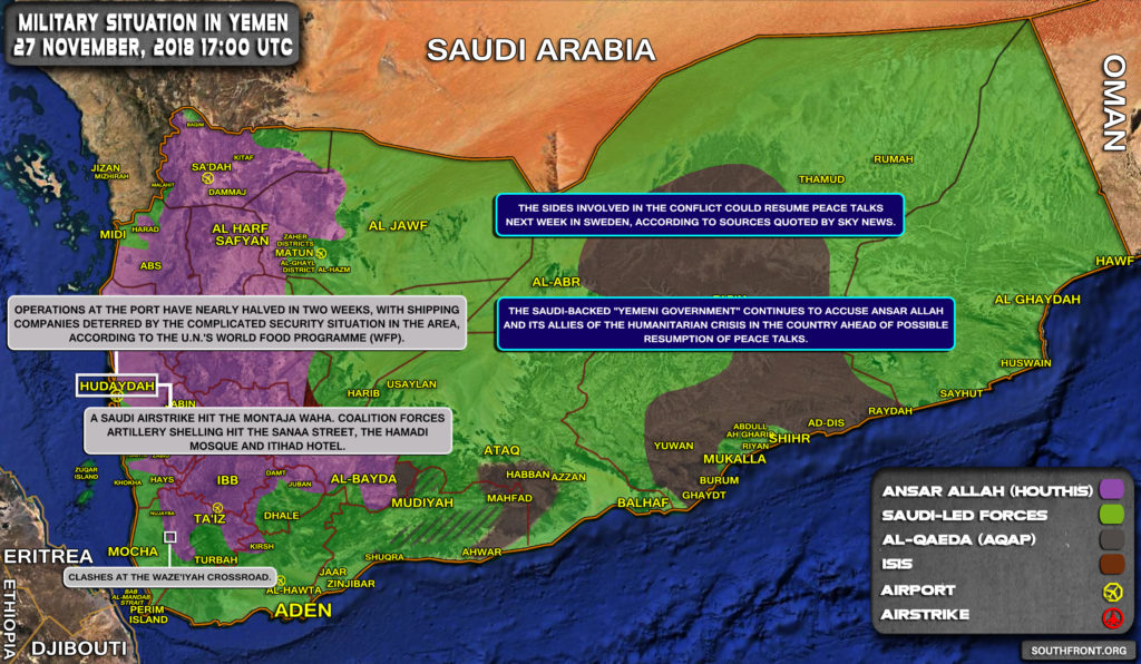 Brief Look At Military Situation In Yemen On November 27, 2018 (Map Update)