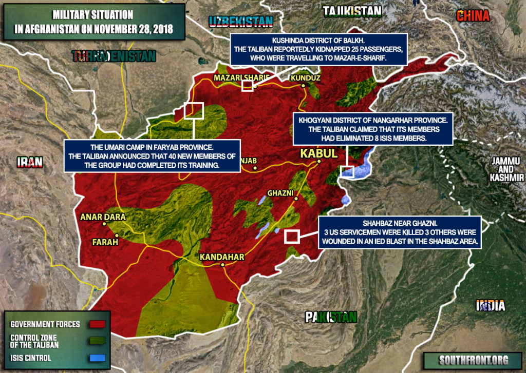 Military Situation In Afghanistan On November 28, 2018 (Map Update)