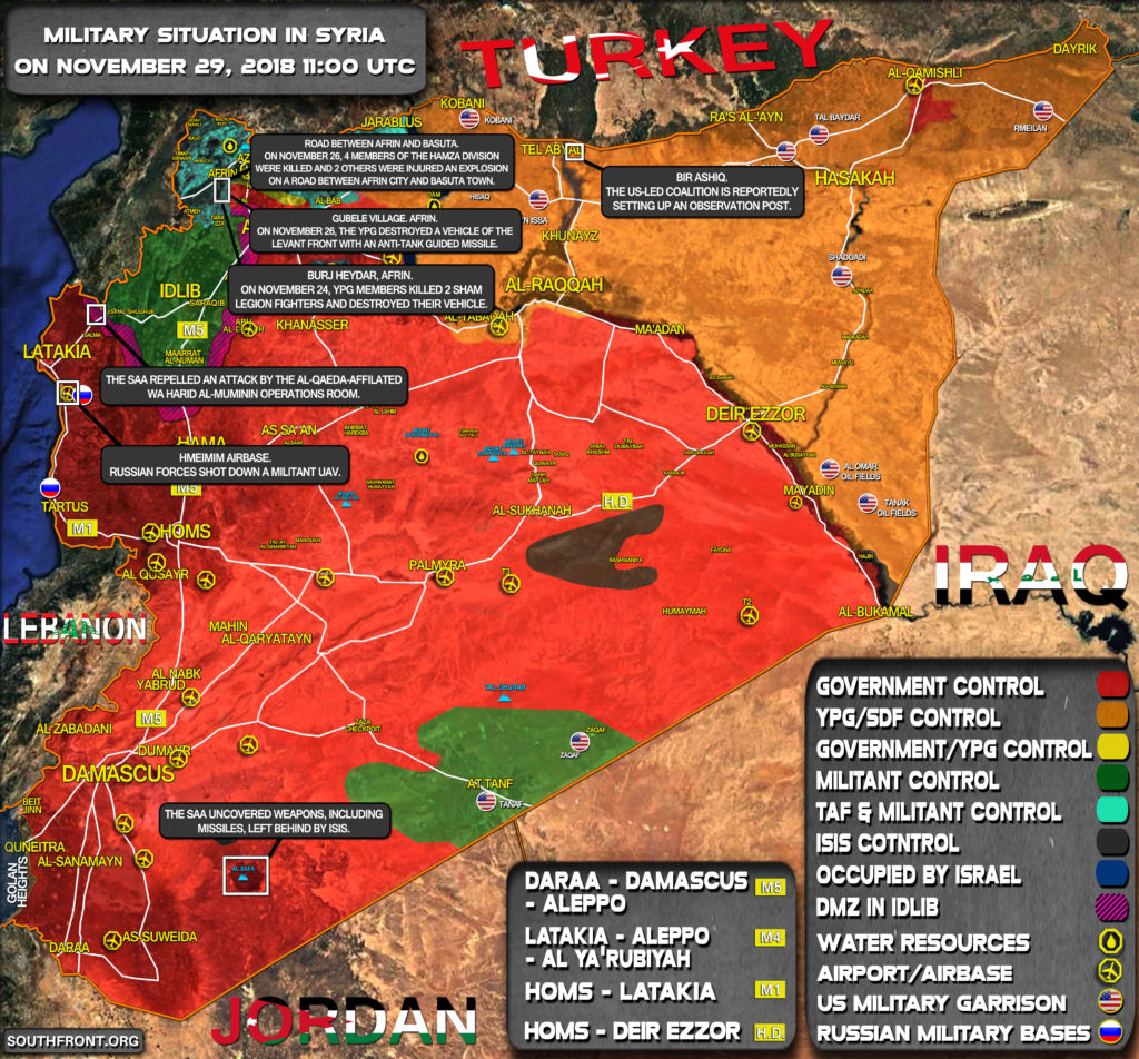 Overview Of Military Situation In Syria On November 29, 2018 (Map Update)