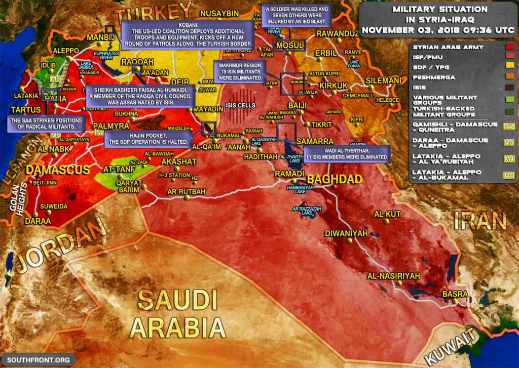 Military Situation In Syria And Iraq On November 3, 2018 (Map Update)