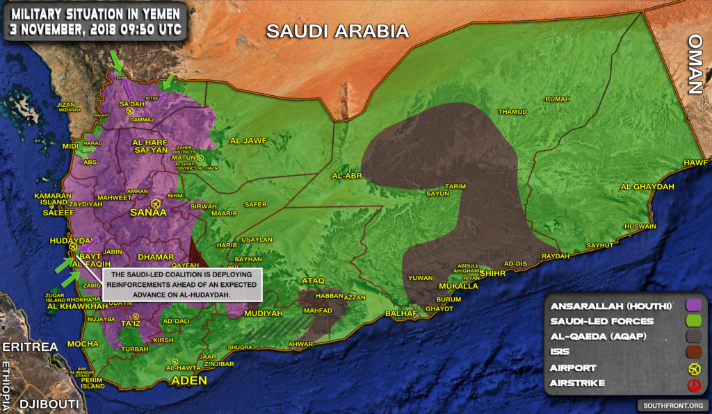 Military Situation In Yemen On November 3, 2018 (Map Update)