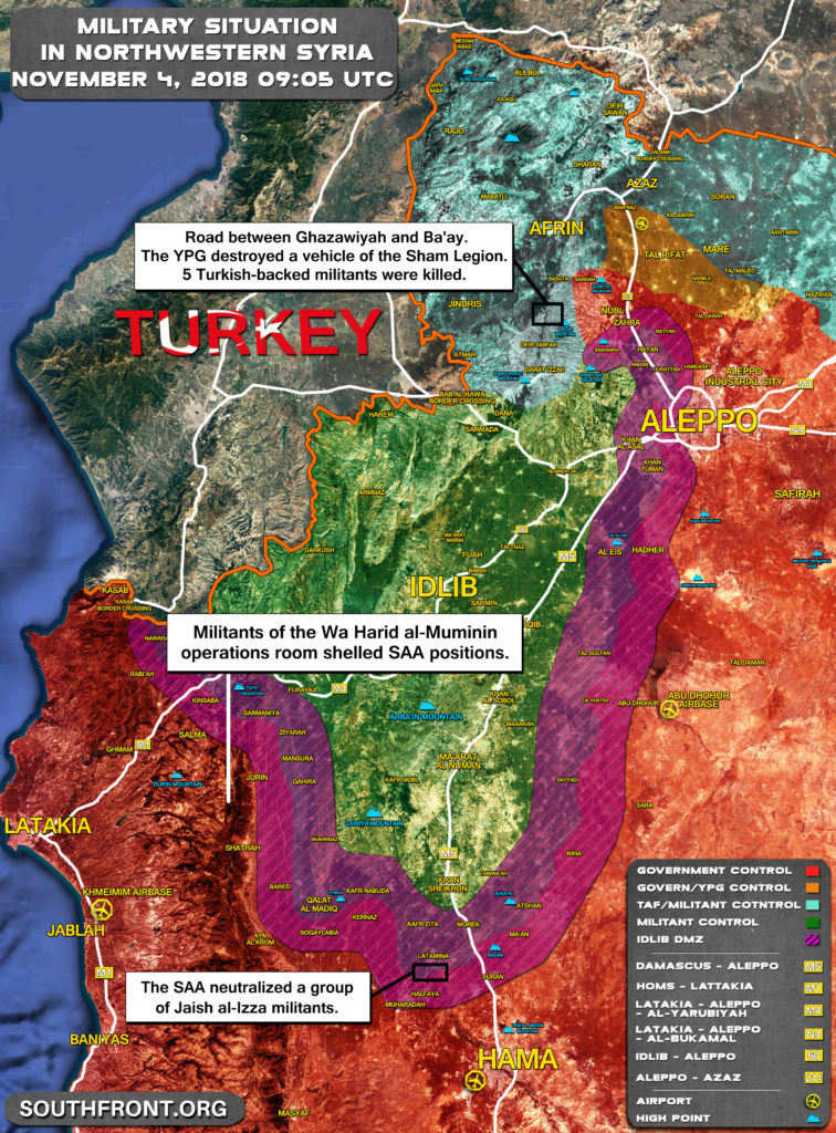 Overview Of Military Situation In Syria's Idlib De-Escalation Zone In October-November, 2018