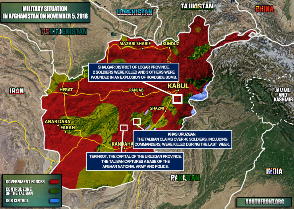 Military Situation In Afghanistan On November 4-5, 2018 (Map Update)