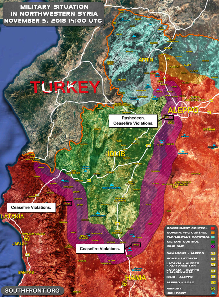 Military Situation In Northwestern Syria On November 5, 2018 (Map Update)