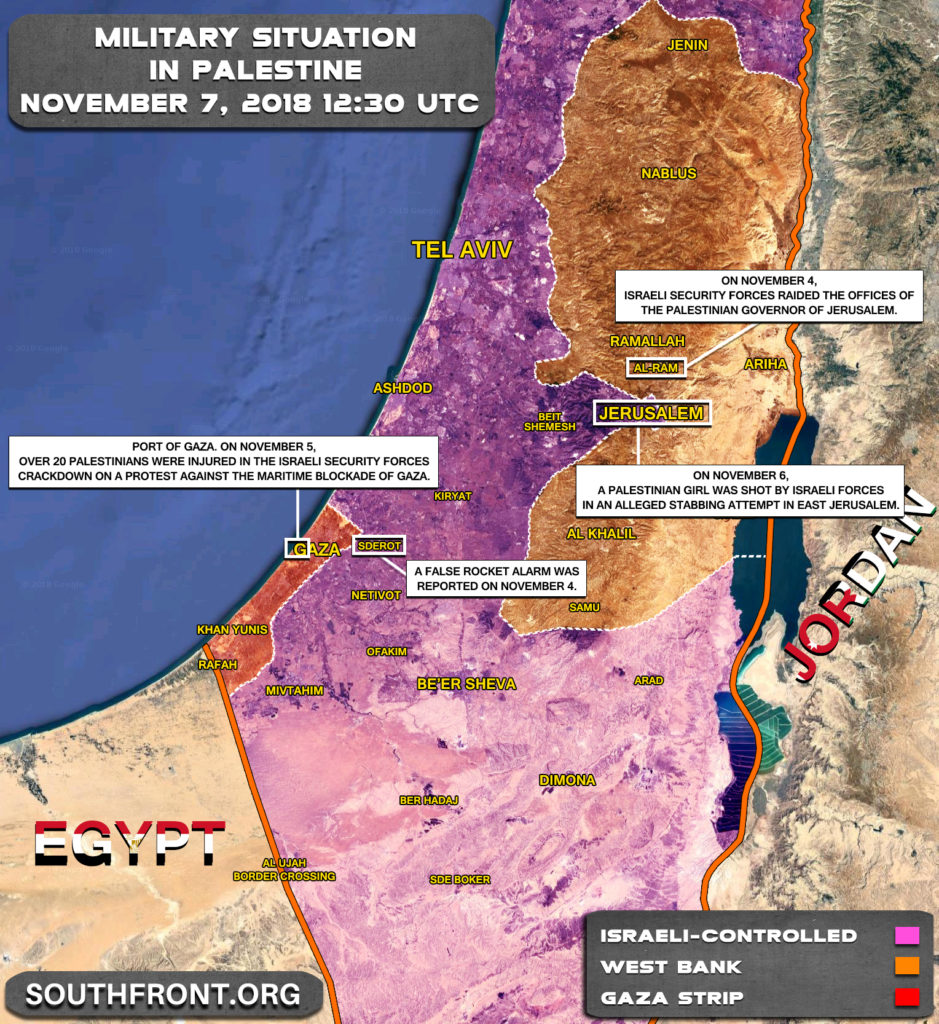 Security Situation In Palestine On November 7, 2018 (Map Update)