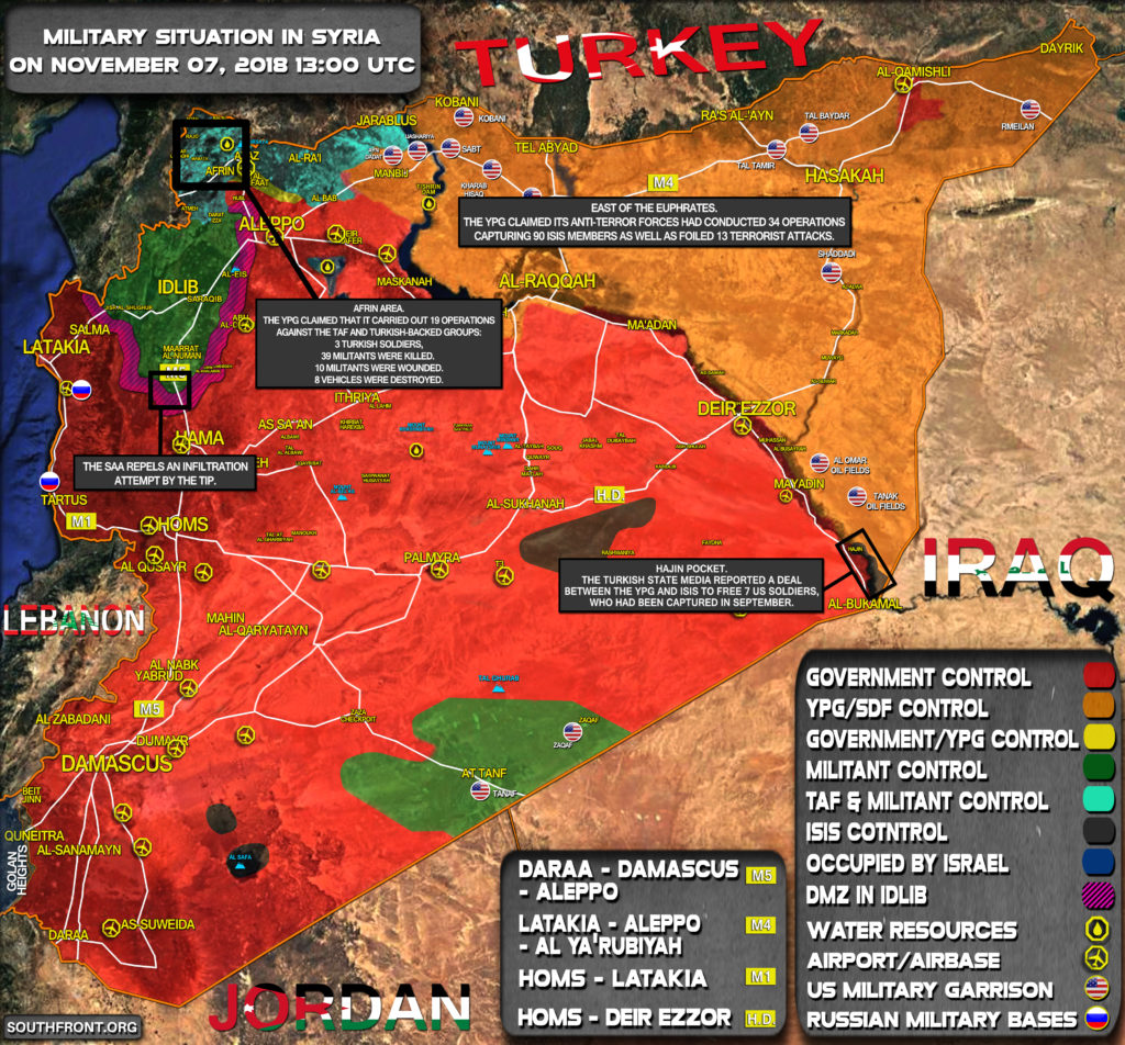 Stručný Pohľad Na Vojenskú Situáciu V Sýrii Novembra 6-7, 2018 (Aktualizácia Máp)