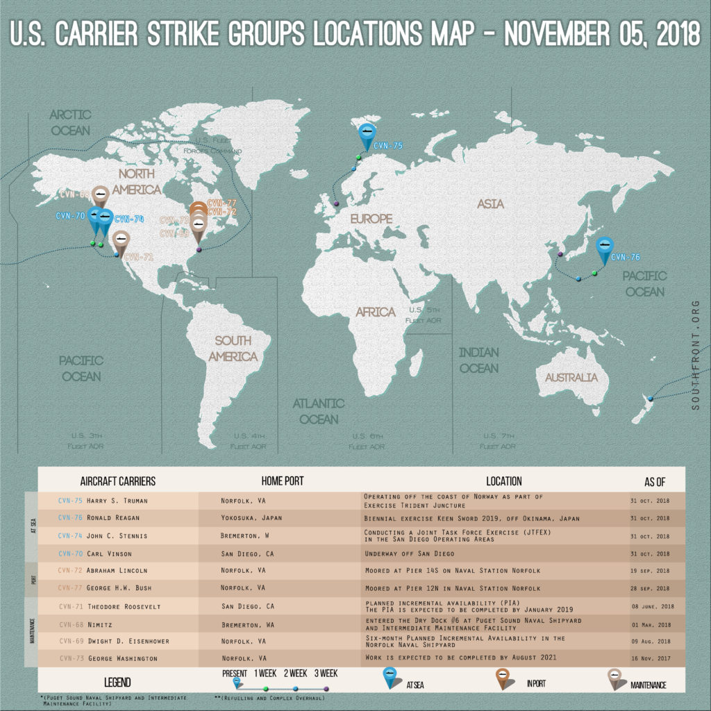US Carrier Strike Groups Locations Map – November 5, 2018