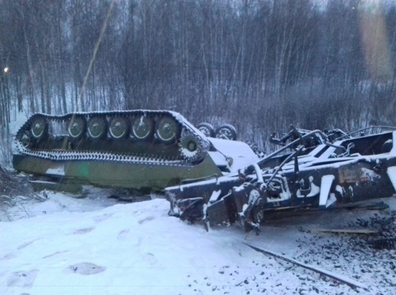 In Photos: Train With Military Equipment Derails West Of Russia's Omsk